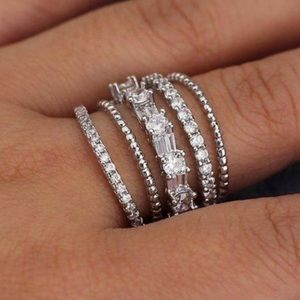 NEW💍925 STERLING SILVER DIAMOND MULTI BAND RING